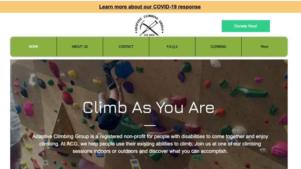 adaptive climbing group homepage